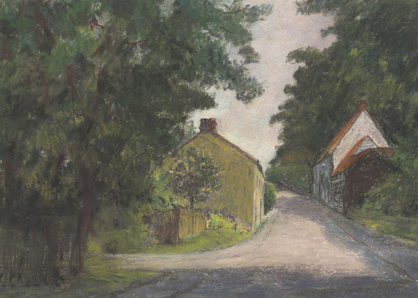 Frank Fidler, Country Lane - Original mid-20th-century pastel drawing