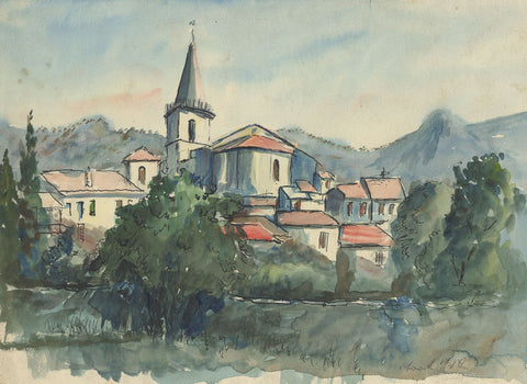 Frank Fidler, French Town - Original mid-20th-century watercolour painting