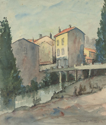 Frank Fidler, Italian Town - Original mid-20th-century watercolour painting