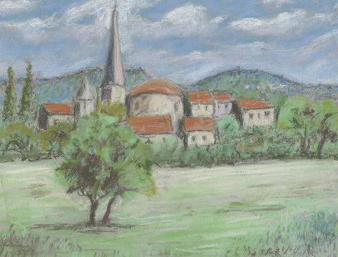 Frank Fidler, Village View - Original mid-20th-century pastel drawing