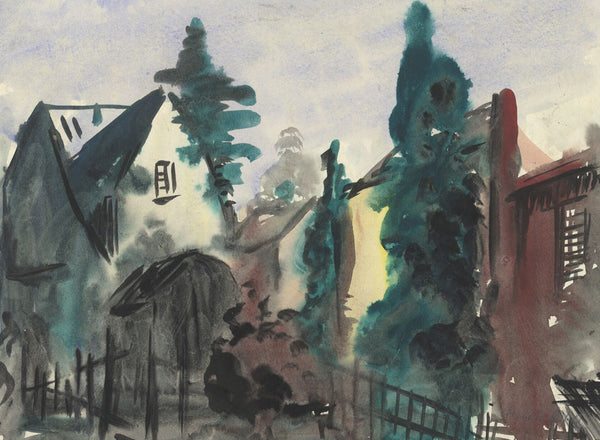 Frank Fidler, House Approach - Original mid-20th-century watercolour painting