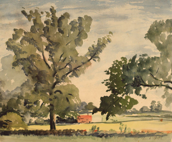 Frank Fidler, Country Hedgerow - Original mid-20th-century watercolour painting
