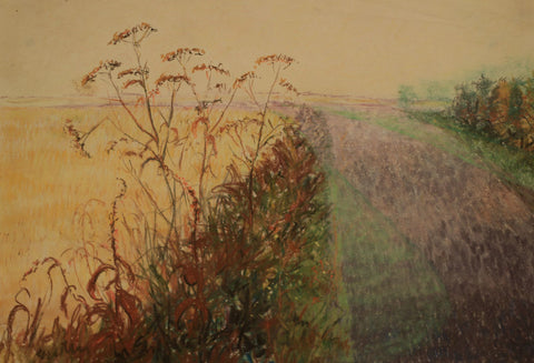 Frank Fidler, Lavender Fields - Original mid-20th-century pastel drawing