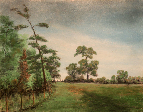 Frank Fidler, Green Fields - Original mid-20th-century pastel drawing