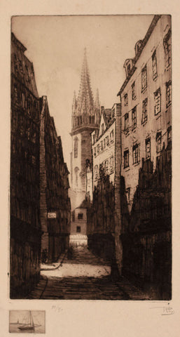 Rhys, Continental Street Scene - Original early 20th-century etching print