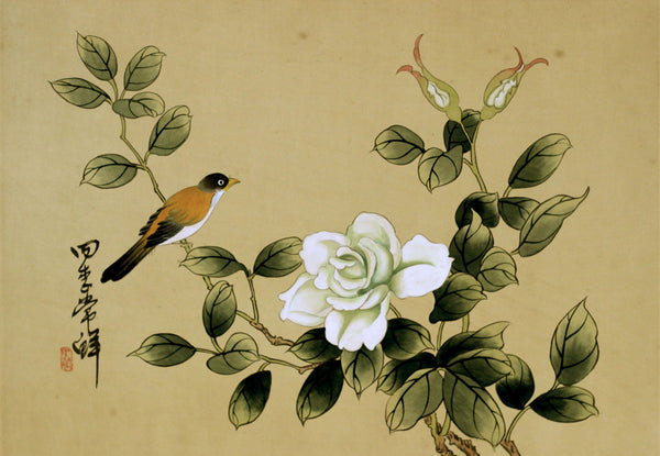 Chinese Bird and Flower on Silk - Original mid-20th-century watercolour painting