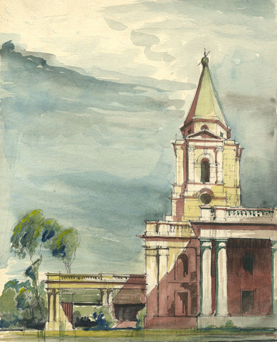 P. Faulkner, Palladian Steps - Original mid-20th-century watercolour painting