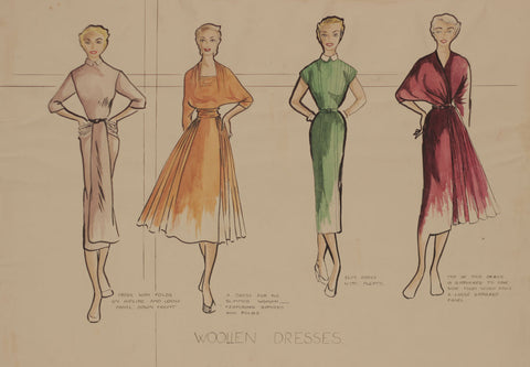 1950s Vintage Fashion Dresses - Original mid-20th-century pen & ink drawing