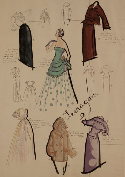 1950s Vintage Fashion Outfits - Original mid-20th-century pen & ink drawing