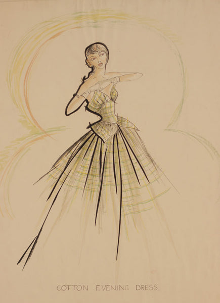 1950s Vintage Fashion Design - Original mid-20th-century pen & ink drawing
