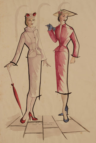 1950s Vintage Fashion Suits - Original mid-20th-century pen & ink drawing