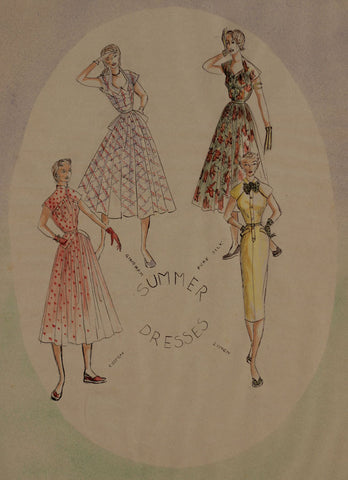 1950s Vintage Fashion Skirts - Original mid-20th-century pen & ink drawing