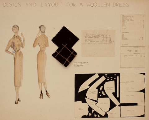 1950s Vintage Fashion Pattern - Original mid-20th-century pen & ink drawing