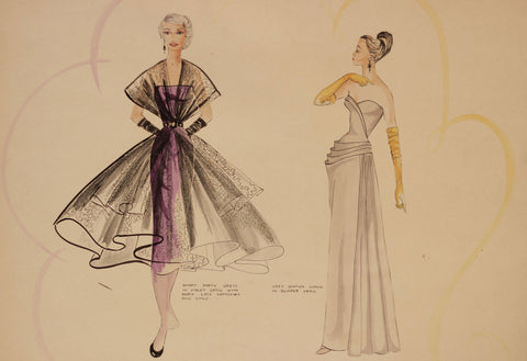 1950s Vintage Fashion Gown - Original mid-20th-century pen & ink drawing