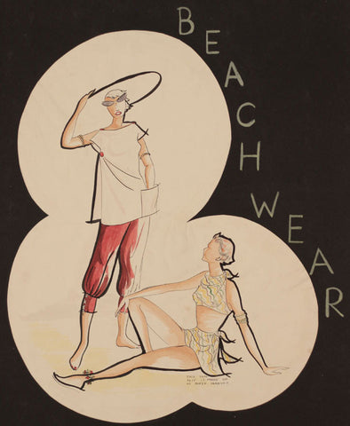 1950s Vintage Fashion Beach Wear - Original mid-20th-century pen & ink drawing