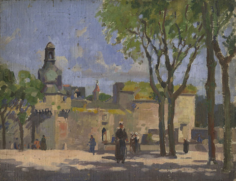 Harry Riley RI, Town Square, France - Original mid-20th-century oil painting