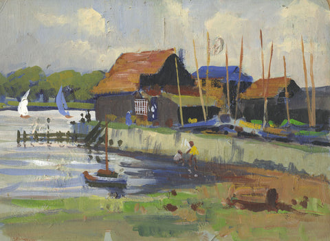 Harry Riley RI, Sailing Boatyard - Original mid-20th-century oil painting