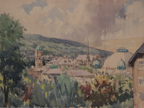 Harry Riley RI, Town, Austria - Original mid-20th-century watercolour painting