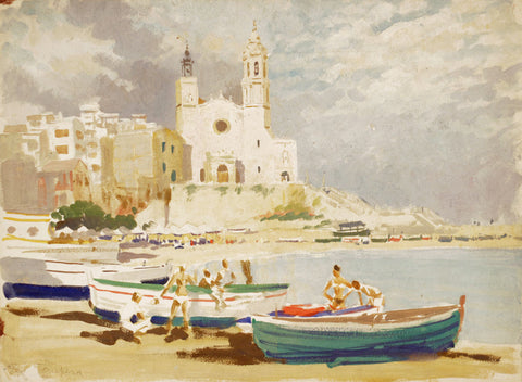Harry Riley RI, The Beach Sitges, Spain - Original 1959 egg tempera