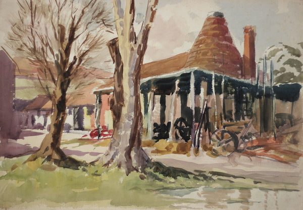 Harry Riley RI, The Oast House - Original 1952 watercolour painting
