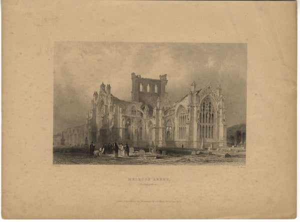 R. Wallis after T. Allom, Melrose Abbey, Roxburghshire - Original 1835 engraving print