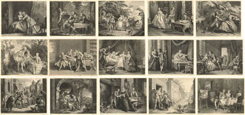 Set of 15 Original Engravings by F. Depollier, The Tales of La Fontaine, 1880