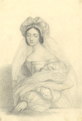 Portrait of a Young Lady in Bodice - Original early 19th-century graphite drawing