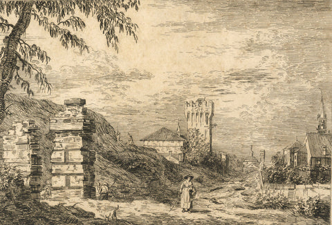 A. Hunter, Continental Village View - Original early 19th-century etching print