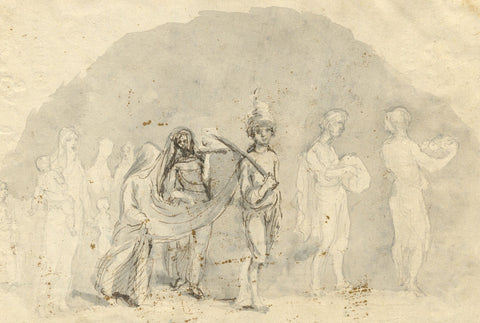 A. Hunter, Indian Celebration Procession - Original early 19th-century watercolour painting