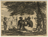 A. Hunter, Indian Barber under tree - Original early 19th-century etching print