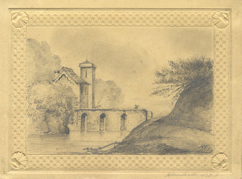 H. Marshall, Continental House by Bridge - Original 1838 graphite drawing