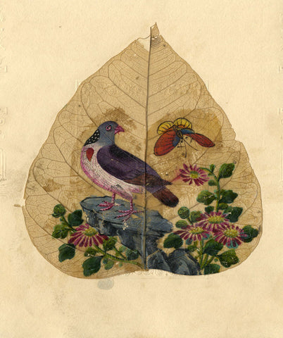 Hand-painted Pigeon - Original early 19th-century pressed leaf