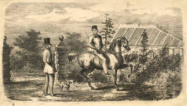A. Hunter, Man on Horseback with Gentleman - Original 1845 etching print