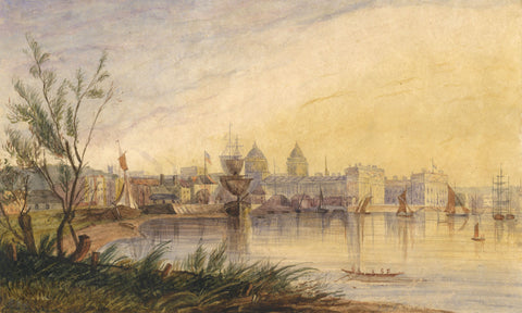 C.M. Hodgson, View of Greenwich Hospital, Kent - Original 1840 watercolour painting