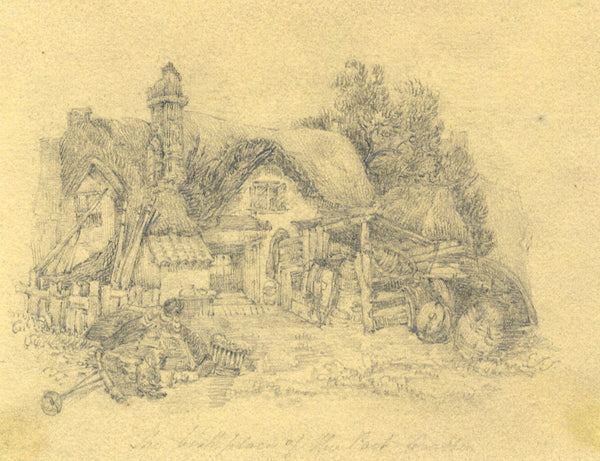 C. J. J., Fisherman's Cottage - Original early 19th-century graphite drawing