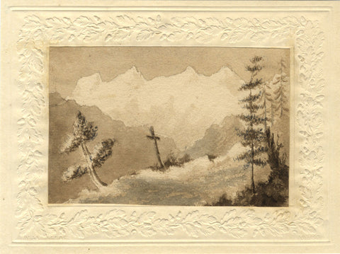 Mountain Grave with Cross - Original early 19th-century watercolour painting