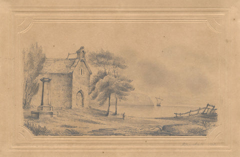 H. Marshall, Continental Chapel by the Sea - Original 1838 graphite drawing