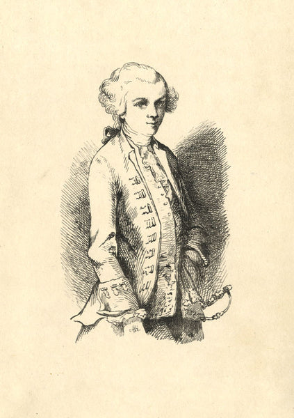 A. Hunter, Young Man in Military Dress - Original early 19th-century pen & ink drawing