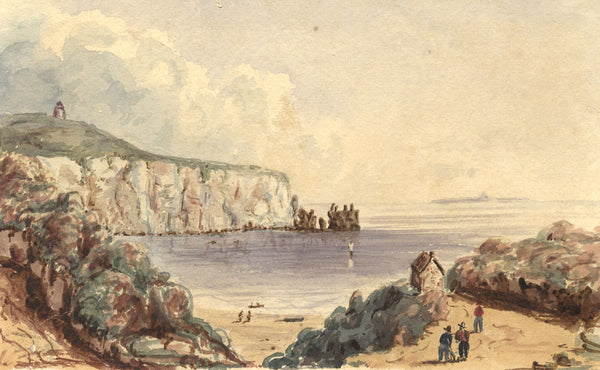 Alum Bay, Isle of Wight - Original early 19th-century watercolour painting