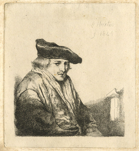 A. Hunter, Gentleman Scholar - Original 1840 etching print
