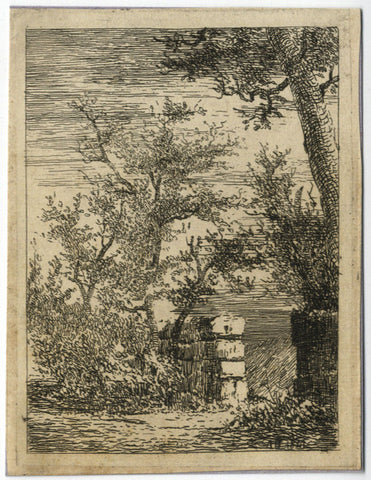 A. Hunter, Tree in Walled Garden - Original 1841 etching print