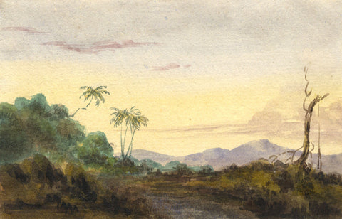Mountain View with Trees - Original early 19th-century watercolour painting