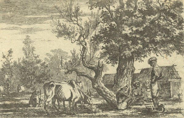 A. Hunter, Indian Elders under Tree - Original early 19th-century etching print