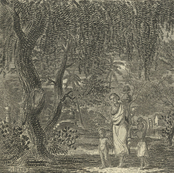 A. Hunter, Indian Mother and Children - Original 1846 engraving print