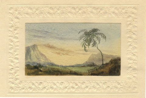 Mountain View with Tree - Original early 19th-century watercolour painting