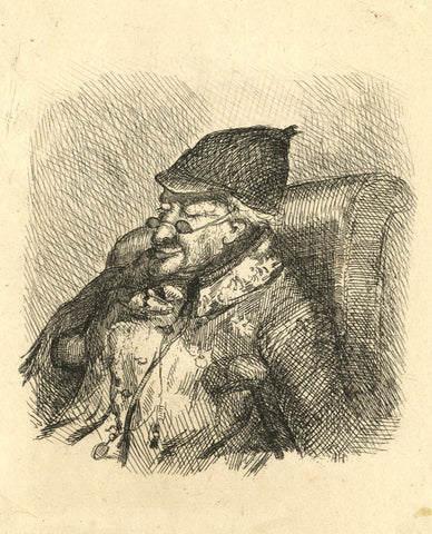 A. Hunter, Sleeping Gentleman - Original early 19th-century etching print