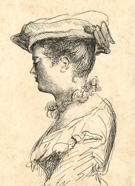A. Hunter, Lady in Profile - Original early 19th-century etching print