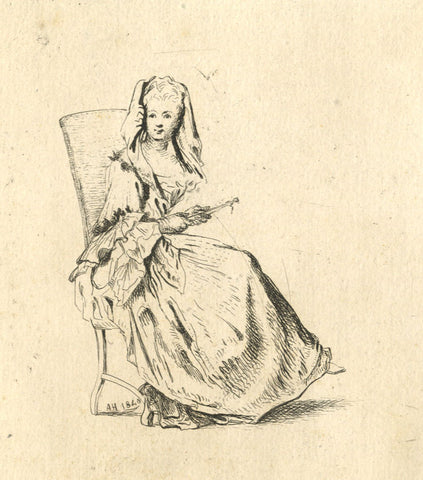 A. Hunter, Seated Lady - Original 1840 etching print