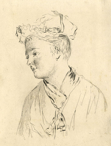 A. Hunter, Contemplative Lady Portrait - Original early 19th-century etching print
