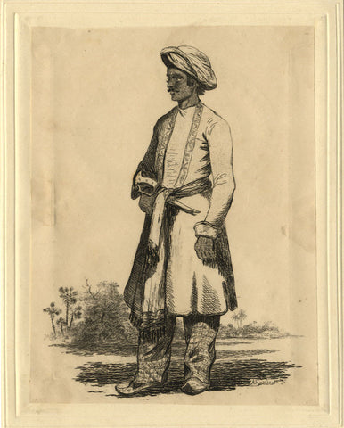 A. Hunter, Indian Man with Khanjar Dagger - Original early 19th-century etching print